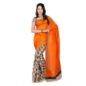 Buy Kalazone Orange Color Bhagalpuri Cotton Casual Wear Saree online