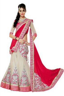 Buy Smt Red Net Georgette & Jaquard Lehenga Choli online