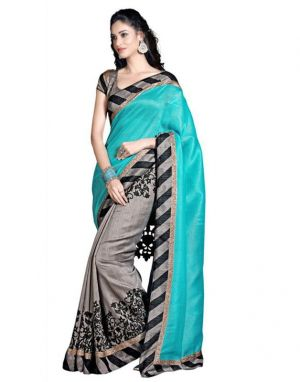 Buy Bhavna Enterprise Beautiful Collection Of Sky & Grey Printed Saree(code 369845) online