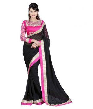 Buy Fabkaz Women Chiffon Black Colour Embroidey Designer Saree - (code - Fks017) online