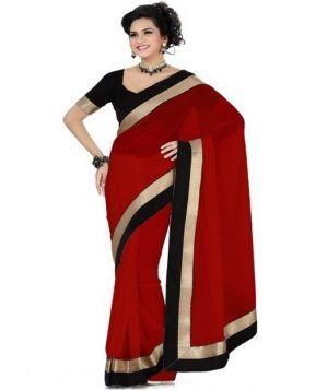 Buy Fabkaz Women Chiffon Red Colour Lace Broder Work Designer Saree - (code - Fks057) online
