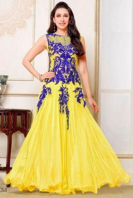 Buy Bhavna Enterprise Beautiful Collection Of Yellow Color Anarkali Dress .(code 45652) online