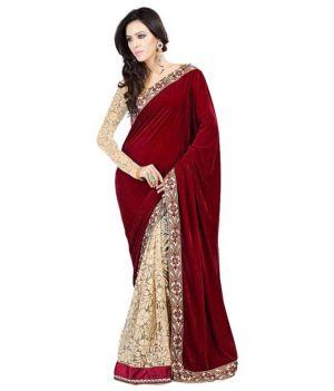 Buy Ramapir Fashion Red Cream Velvet Net Saree Red Velvet online