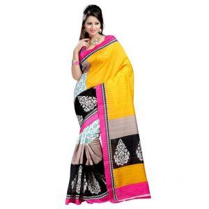 Buy Kalazone Multicolor Bhagalpuri Cotton Casual Wear Saree online