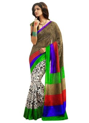 Buy Nilkanth Beige Printed Bhagalpuri Silk Printed Saree With Blouse - (product Code - Ssc005-gbr-print) online