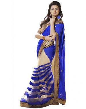 Buy Kalazone Blue Faux Georgette Party Wear Saree - (product Code - Wsv34413) online