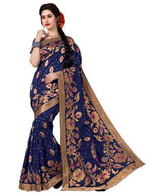 Buy Satyam Fabrics Blue Colour Banarasi Handloom Silk Saree D.no.1006 With Blouse online