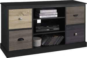 Afydecor Contemporary Entertainment Unit With Four Retractable Drawers Having Metallic Pulls(Product Code)_3167