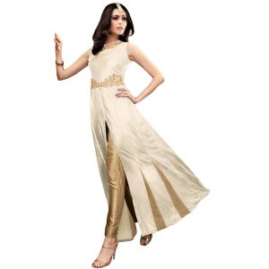 Buy Bollywood Replica Party Wear Graceful Cream Silk And Net Partywear Salwar Kameez - 125f4f08dm online