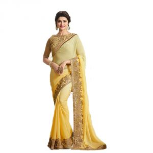Buy Bollywood Replica Prachi Desai Georgette Border Work Yellow Plain Saree online