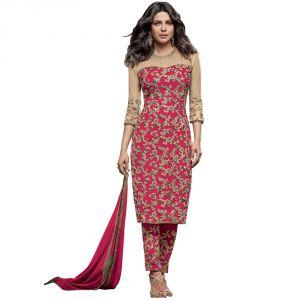 Buy Bollywood Replica Designer Very Attractive Priyanka Chopra Pink Embroidered Straight Cut Salwar Kameez online