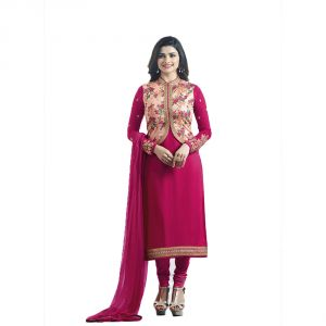 Buy Bollywood Replica Crepe Silk Prachi Desai Suit With Floral Print Koti In Deep Pink online
