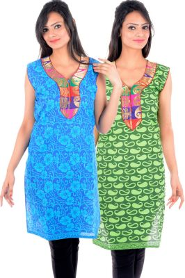 Buy Uac-by 99pockets Women's Cotton Blue & Green Kurti (pack Of 2) (code - Kk133) online