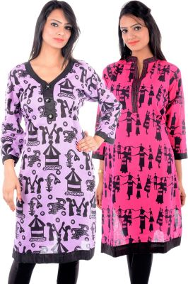 Buy Uac-by 99pockets Women's Cotton Purple & Pink Kurti (code - Kk136) online