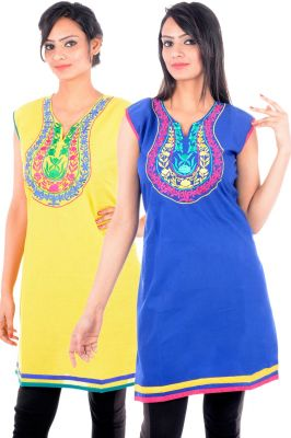 Buy Uac-by 99pockets Women's Cotton Blue And Yellow Kurti (pack Of 2) (code - Kk137) online