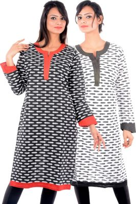 Buy Uac-by 99pockets Women's Cotton White & Black Kurti (pack Of 2) (code - Kk138) online