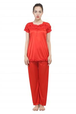 Buy Uac-by 99pockets Satin Red Top And Pyjama Set (free Size) (code - Uac-19) online
