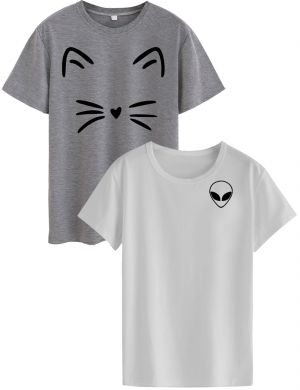 Buy Women's Cotton T-Shirt - Combo - Meow (Grey) and Alien (White) online