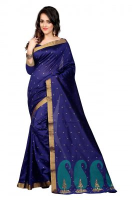 Buy Holyday Womens Poly Cotton Saree, Blue (raj_rama_mango) online