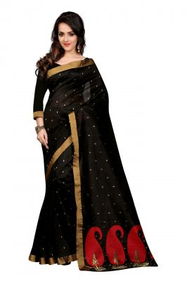 Buy Holyday Womens Poly Cotton Saree, Black (raj_red_mango) online