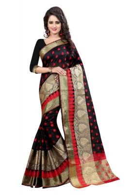 Buy Holyday Womens Banarasi Silk Thread Saree_ Black (with Blouse) online