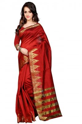 Buy Holyday Womens Poly Cotton Saree, Red (amar_jyoti_red) online