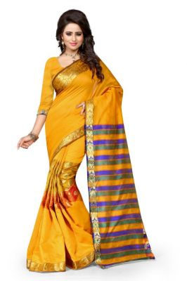 Buy Holyday Womens Tassar Silk Self Design Saree, Yellow (sandy_kery_yellow) online