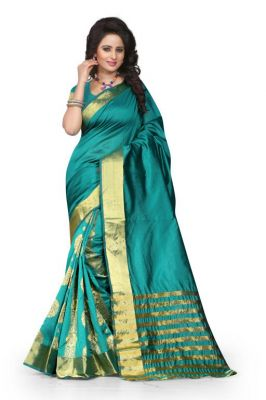 Buy Holyday Womens Poly Cotton Self Design Saree, Navy Blue (tamasha_gehana_navy Blue) online