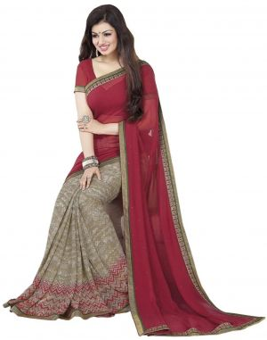 Buy Holyday Womens Silk & Georgette Saree, Brown (ayesha_beauty_red Brown) online