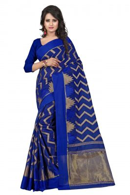 Buy Holyday Womens Poly Cotton Saree, Blue (azar_beauty_blue) online