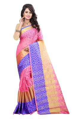 Buy Holyday Womens Brasso Thread Saree_ Light Pink (with Blouse) online