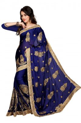 Buy Holyday Womens Chiffon Saree, Nevy Blue (bancidhar_beauty_nevy Blue) online