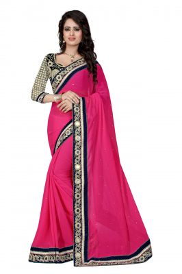 Buy Holyday Womens Georgette Saree, Pink (designer_border_pink) online