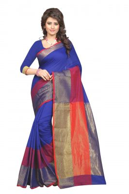 Buy Holyday Womens Raw Silk Saree, Blue (haka_beauty_blue) online