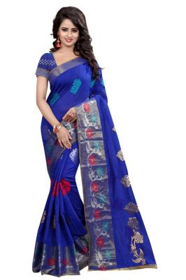 Buy Holyday Womens Banarasi Silk Thread Saree_ Dark Royal Blue (with Blouse) online
