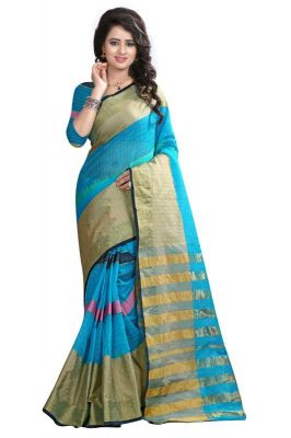 Buy Holyday Womens Banarasi Silk Thread Saree_ Ice Blue (with Blouse) online