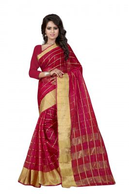Buy Holyday Womens Silk Cotton Saree, Maroon (raj_orgenza_maroon) online