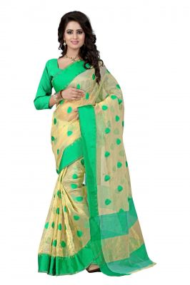 Buy Holyday Womens Poly Cotton Saree, Green (kavya_beauty_green) online