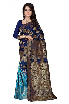 Buy Holyday Womens Silk Saree, Blue (sharma_nevy_blue) online