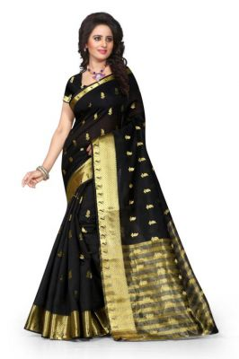 Buy Holyday Womens Poly Cotton Self Design Saree, Black (tamasha_kery_black) online