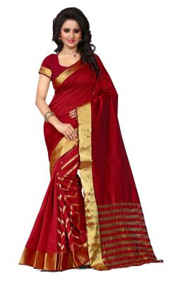 Buy Holyday Womens Cotton Silk Saree, Red (tamasha_leriya_red) online