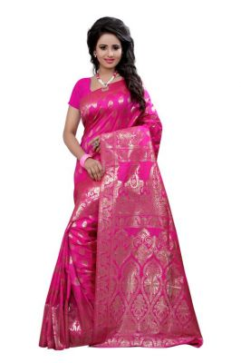 Buy Holyday Womens Tassar Silk Self Design Saree, Pink (banarasi_beauty_pink) online