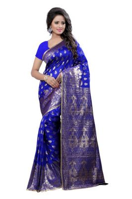 Buy Holyday Womens Tassar Silk Self Design Saree, Blue (banarasi_beauty_blue) online