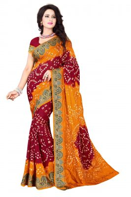 Buy Holyday Womens Cotton & Crush Saree, Red (bandhej_yellow_red) online