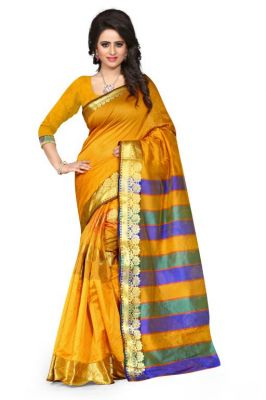 Buy Holyday Womens Tassar Silk Self Design Saree, Yellow (sandy_butti_yellow) online