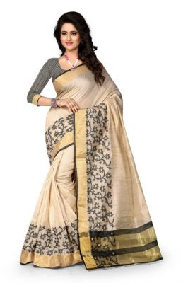 Buy Holyday Womens Cotton Silk Self Design Saree, Black (raj_jaal_beige) online