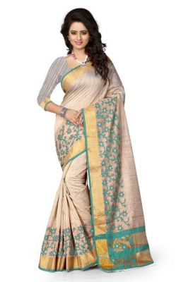 Buy Holyday Womens Cotton Silk Self Design Saree, Navy Blue (raj_jaal_green) online