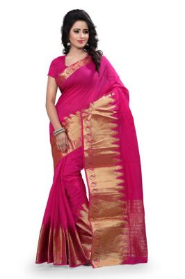 Buy Holyday Womens Cotton Silk Self Design Saree, Pink (raj_kery_pink) online
