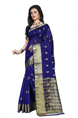 Buy Holyday Womens Cotton Silk Saree, Blue (raj_mango_blue) online