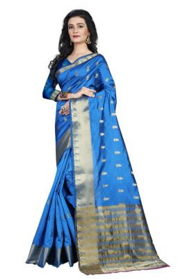 Buy Holyday Womens Poly Cotton Self Design Saree, Navy Blue (raj_mango_navy Blue) online